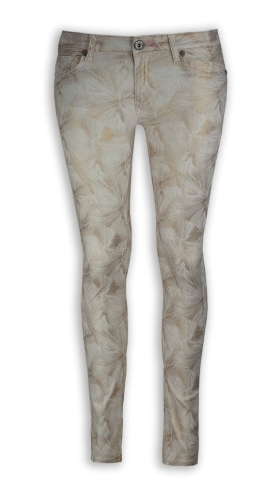 NEW Women Fashion Skinny Slim Gold Flower Print ALL SIZES Sizes Jeans Pants