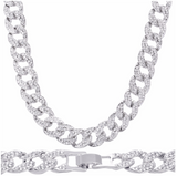 "NEW Large Full Stone Cuban Chain Necklace Silver 20"" Length"