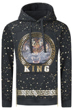 New Men Hooded Paint Splattered King Sweater
