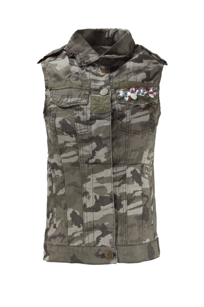 NEW Women Camo Vest Rhinestones Chest Pockets Button Up Sleeveless Sizes XS-XL