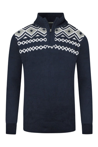 NEW Men Knitted Sweater Long Sleeve Navy Blue Henley Pullover Crewneck Size M-XL