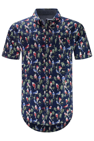 New Men Button Up Jungle Birds Shirt