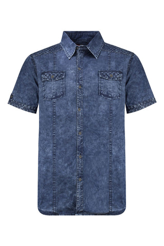 NEW Men Denim Button Up Shirt Collar Jean