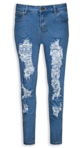 NEW Women Ripped Denim Blue Pants Jeans Elastic Stretchy Faded Blues Slim Fit