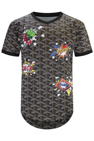 New Men Jersey T-Shirt Boom Comic Longline