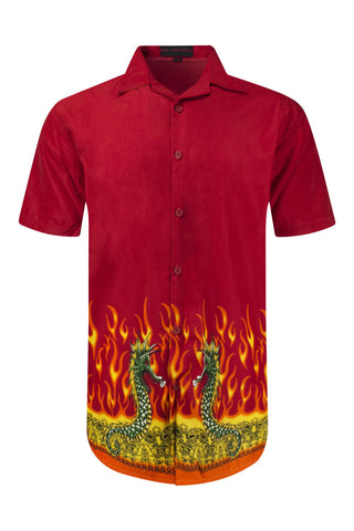 NEW Men Sublimation Button Up Shirt Red Fire Flame Dragon Japanese Themed M L