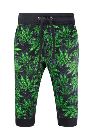 NEW Men Weed Marijuana Caprice French Terry Jogger Shorts Sizes M-2XL Elastic