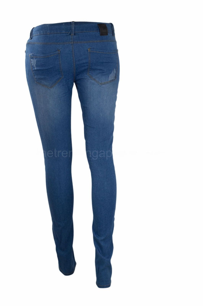 NEW Low Rise Women Skinny Jeans Pants Denim Rinsed Blue Pant Harem Ripped 6037