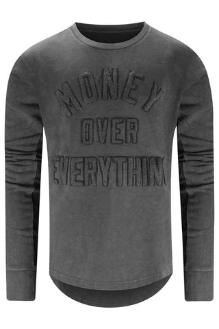 New Men Money Over Everything Black Crewneck
