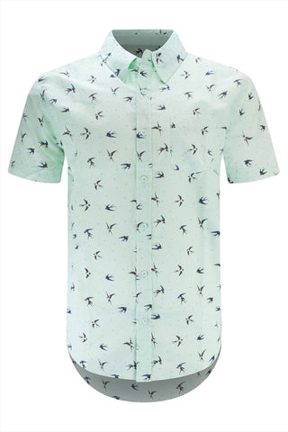 Men Button Up Shirt Green Swallow Print