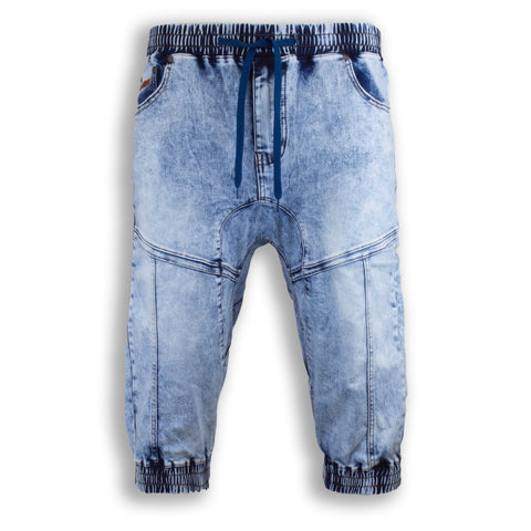 NEW Men Denim Jogger Shorts Jean Ripped Waist 4 Pocket Blue Short Sizes 30-40̴Ì_