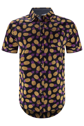 Men Button Up Shirt Black Pineapples Print