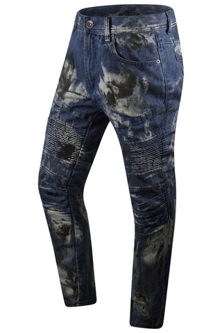 New Men Ripped Biker Blue Jeans