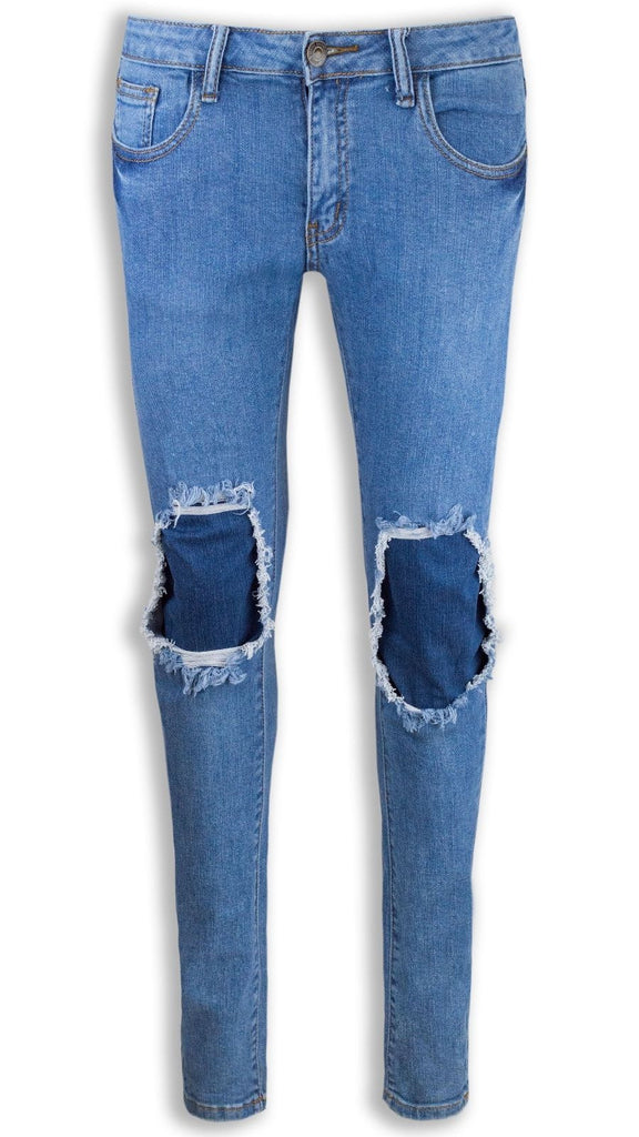 NEW Women Fashion Ripped Light Blue Jeans Distressed Skinny Slim Fit ALL SIZES