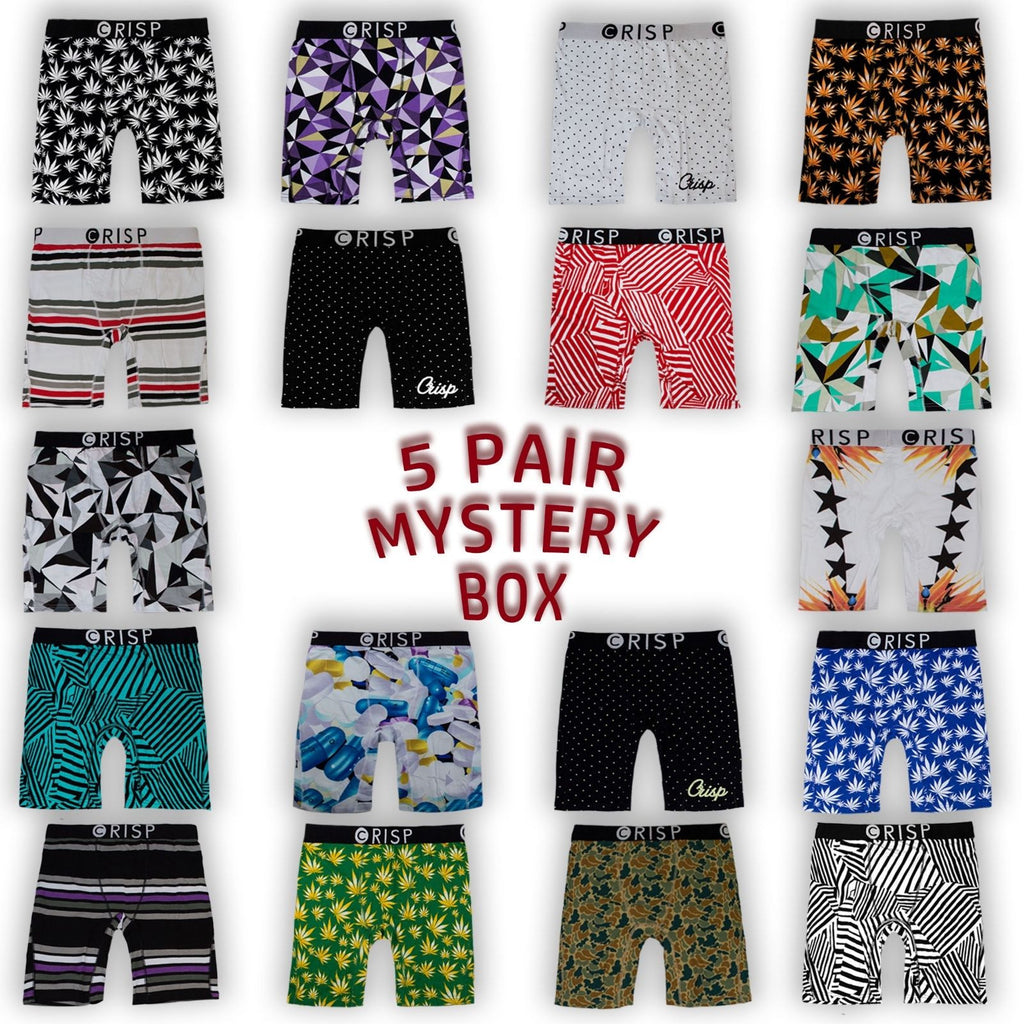 NEW Men Crisp Briefs 5-Pack Mystery BOX Set of Five Underwear Size XS-XL Tyga