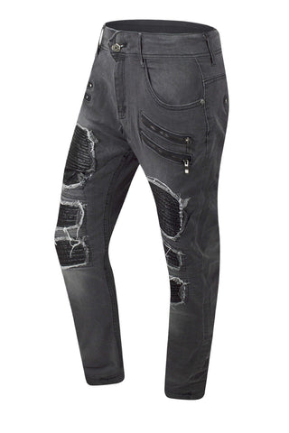 NEW Men Biker Gray Denim Jeans PU Ripped Distressed Stacked Double Needle 30-38