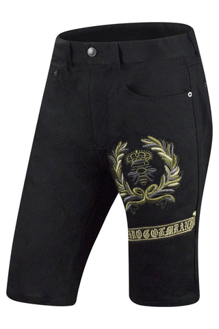 New Men Black Denim Bee Shorts