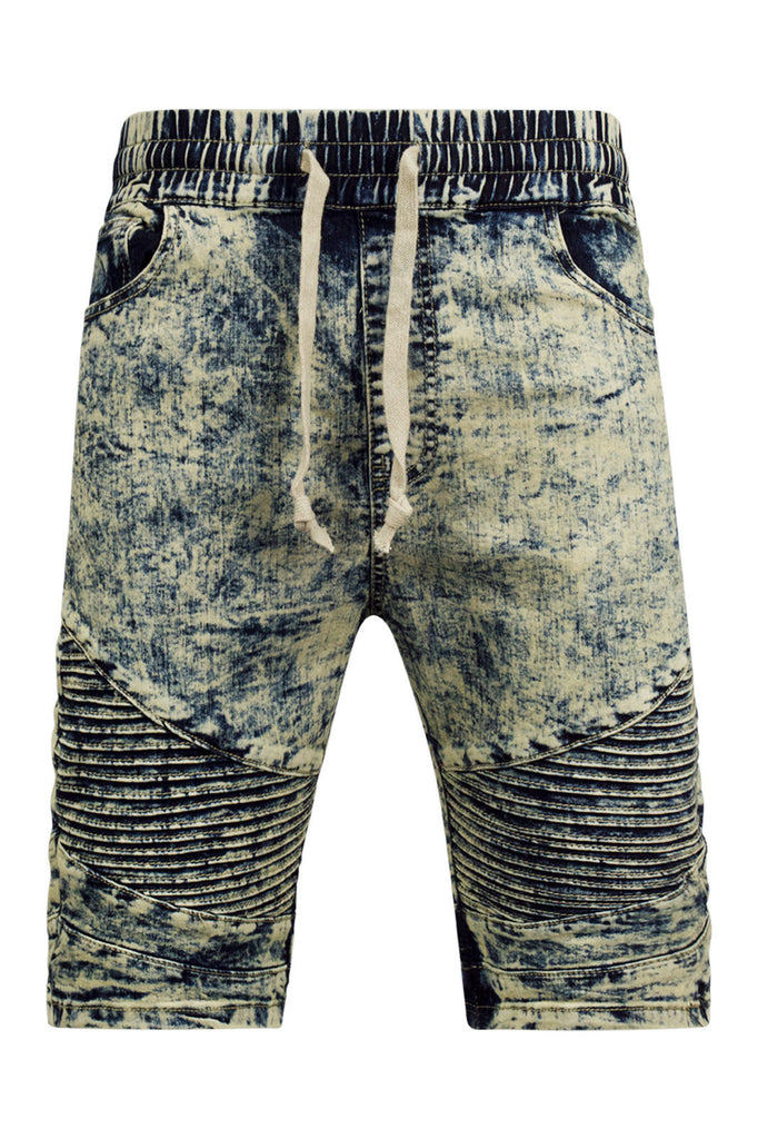 NEW Men Acid Washed Biker Shorts Elastic Waist Drawstrings Blue Stacked Needle
