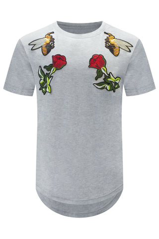 New Bee Roses Embroidered Patch T-Shirt