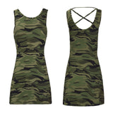 NEW Women Camo Midi Mini Dress Camouflage Sizes S M L Back Strap Tight Sexy Fit