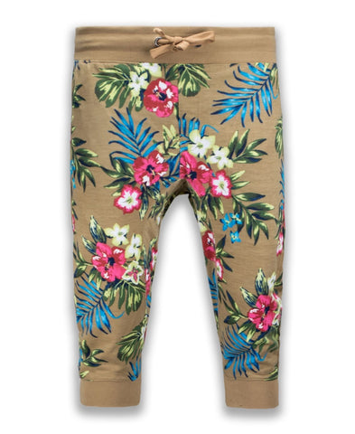 NEW Men Brown French Terry Jogger Capri Shorts Pants Carnation Flowers Hawaii
