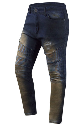 New Men Denim Studs Rust Indigo Jeans Slim Fit