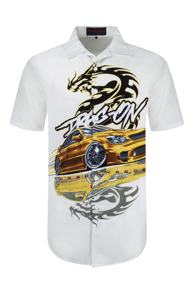NEW Men Siblimation Button Up Shirt Dragon Fire Design Collar Short Sleeve S-XL