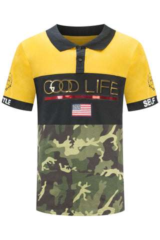 New Men Good Life Yellow Polo T-Shirt
