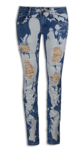 NEW Women Denim Studded Ripped Jeans Gold Studs Distressed Paint Splattered Jean