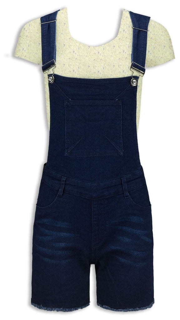 NEW Women Ladies Overalls Jumpsuit Denim Blue Dark Ripped ALL SIZES Buttons