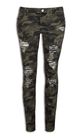 NEW Women Ripped Stone Slim Fit Jeans Camo Distressed Pants Include PLUS SIZE