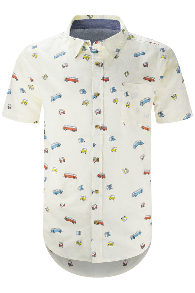 NEW Men Button Up Stretchy Old School Bus