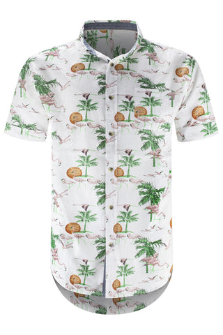 Men Button Up White Flamingos Shirt