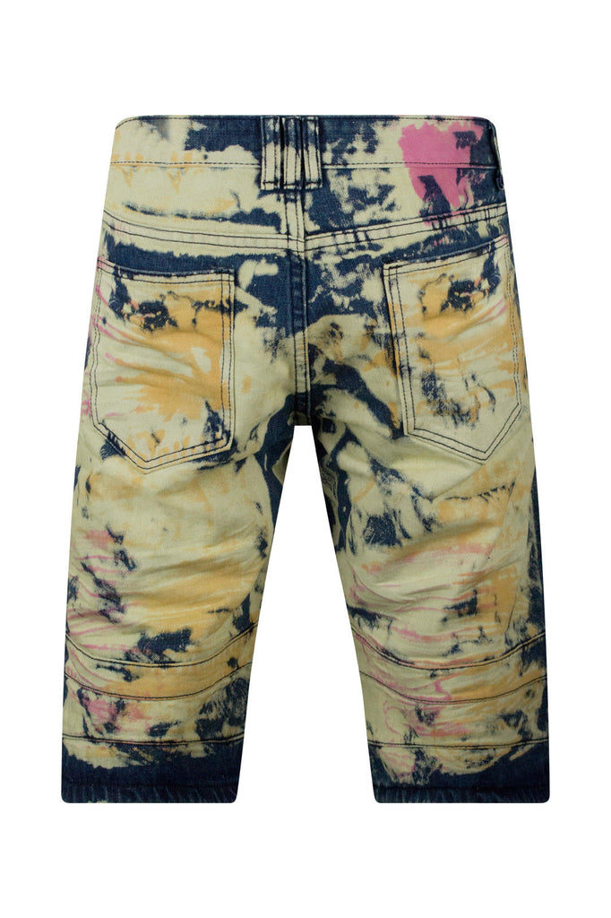 Multi Colored Ripped Biker Denim Shorts