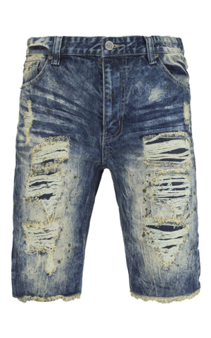 NEW Men Denim Ripped Distressed Shorts Rip Paint Splatter