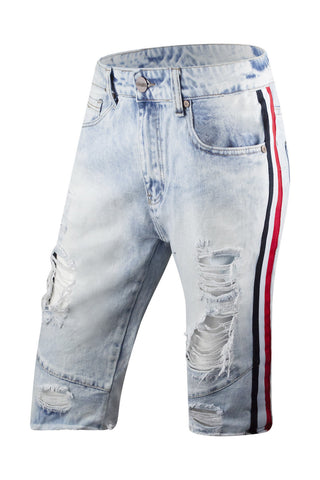 New Men Denim Track White Striped Shorts