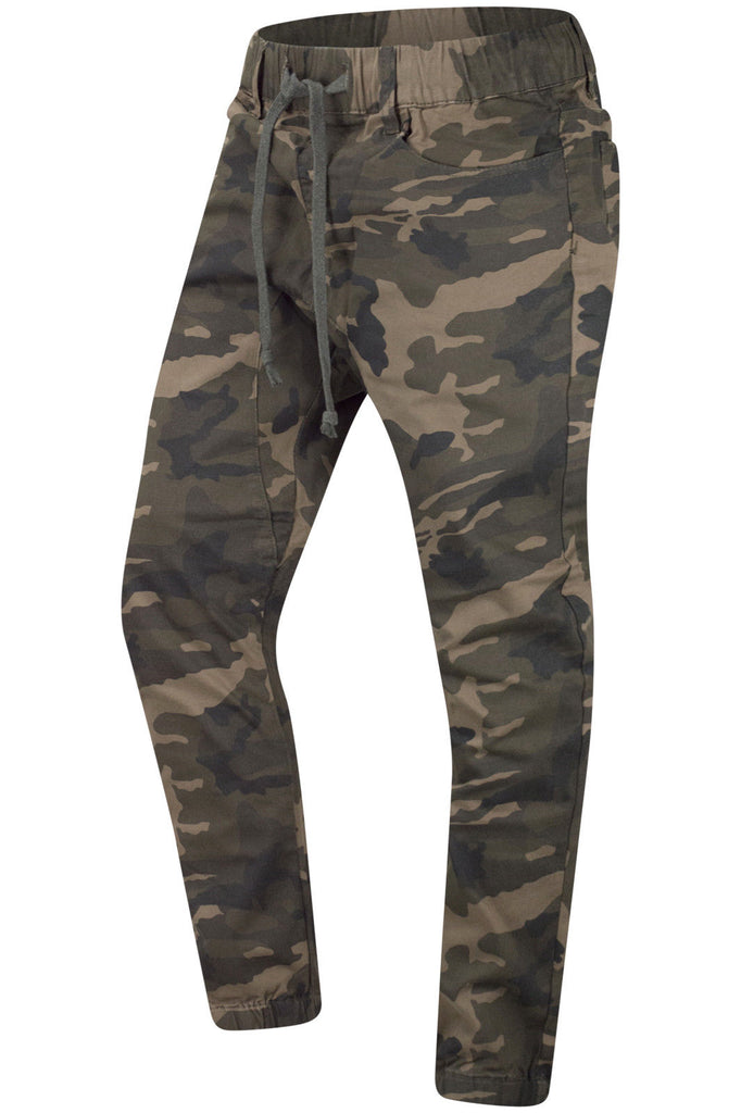 New men Camo Twill Elastic Joggers Pants