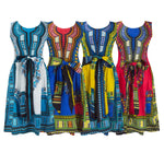 NEW Women Skater Dress Dashiki Graphic Short Sizes S-M-L-XL Waist Bow Tie