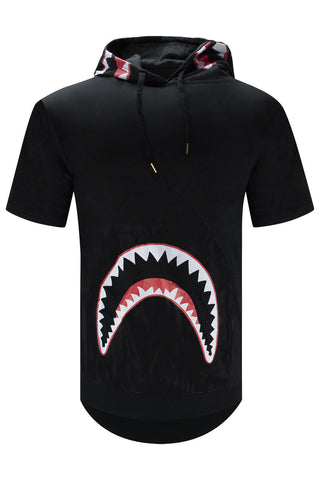 NEW Men Hooded Shark Print Sweater