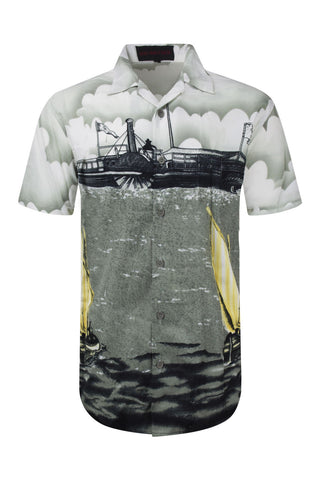 NEW Men Sublimation Button Up Shirt Steam Boat Water Beach Lake Size M L XL