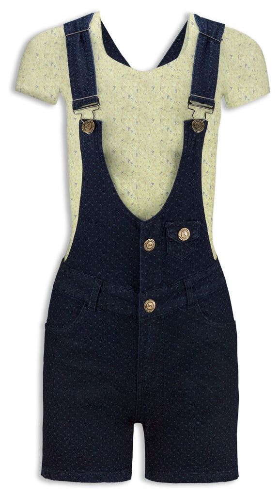 NEW Women Ladies Overalls Jumpsuit Denim Blue Dark Polka Dots ALL SIZES Buttons