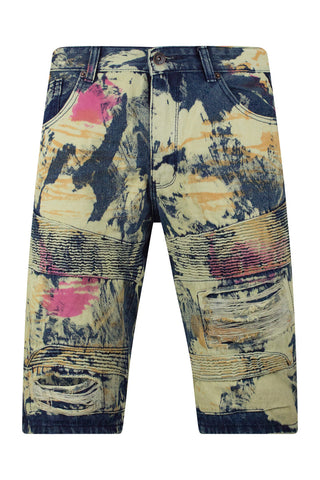 Paint Splattered Denim Biker Jean Shorts