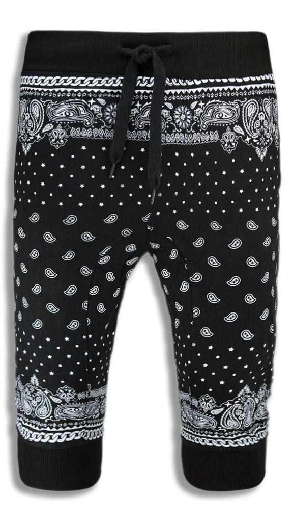 NEW Men Caprice Joggers Shorts Bandana Stars Black White Short ALL SIZES