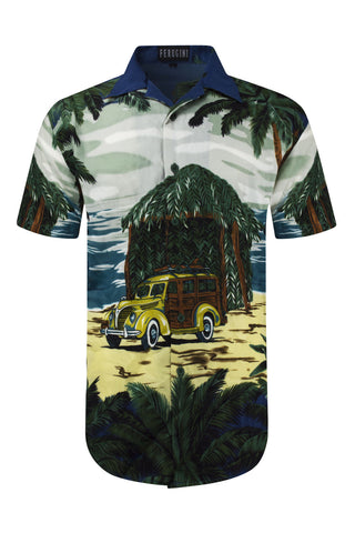 NEW Men Sublimation Button Up Shirt Hawaii Car Beach Size L-5XL Vacation Home