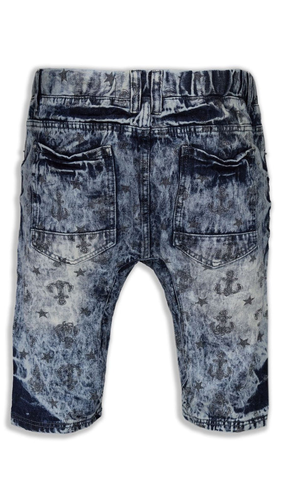 NEW Men Denim Jeans Shorts Elastic Stretchy Waist Washed Acid Blue All SIZES