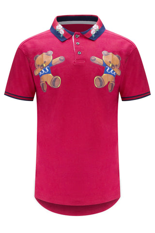 NEW Men Red Teddy Bear Cash Money Polo