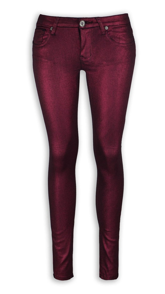 NEW Women Fashion RED Shiny Flower Jeans Stretchy Skinny Slim Pants ALL SIZES