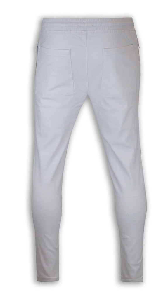 NEW Men White Twill Ripped Joggers Pants Jogger Stretch Elastic Drawstrings