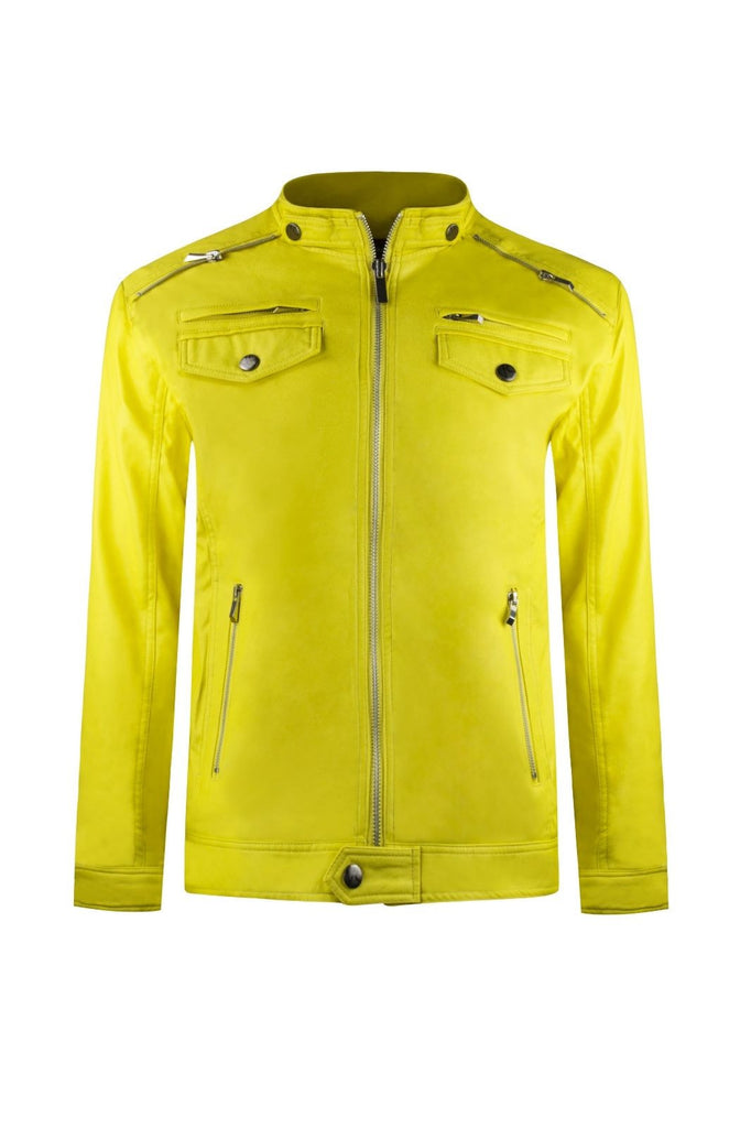 Men Yellow FAUX Leather High-End Luxury Jacket Zipper Slim Fit