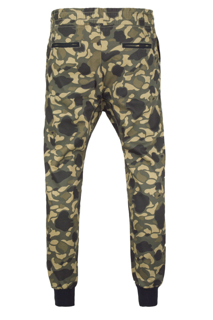 New Men Fleece Joggers Army Camo Joggers Pants Zipper Pockets Drawstrings L XL
